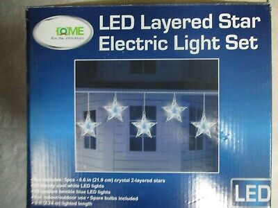 HOME FOR THE HOLIDAYS SET OF 5 LED LAYERED CRYSTAL TWINKLING STARS - NEW