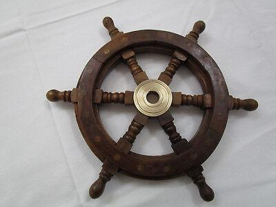 636#  STEUERRAD 30 cm  Holz und Messing neu Maritime Dekoration
