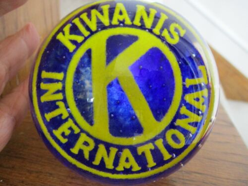 KIWANIS INTERNATIONAL CONTROLLED BUBBLE GLASS PAPERWEIGHT FREE SHIPPING