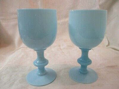 Antique France Portieux Vallerysthal aqua turquoise Opaline Glass 2 Goblets