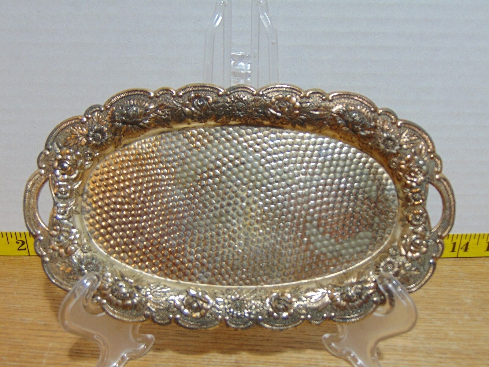 A Price Import Small Bronze Toned Metal Oval Vanity Tray Floral Edges 8 x4 1/2  - $6.00