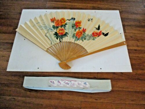 """Large Hand Painted Folding Paper & Wood Fan Wall Hanger 46"""" x 28"""" Made in China"""