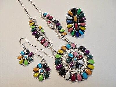 Vintage Sterling Silver Squash Blossom Necklace/Earrings/Ring Set/Lot Gemstones