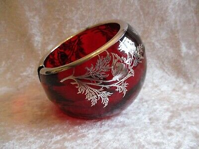 Lead Crystal Glass Ashtray - Vintage Viking Ruby Red Lead Crystal Glass w/Silver Overlay Orb Ashtray