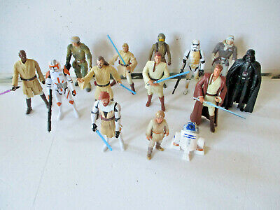 Star Wars Action Figure Bundle Of 14 Various Figures Darth Vader, Obi-wan Kenobi