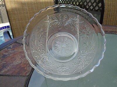 Vintage Depression Anchor Hocking Sandwich Pattern Crystal Bowl