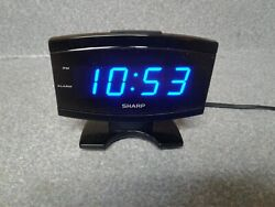 Sharp Model Digital Blue Large Number Display Alarm Clock