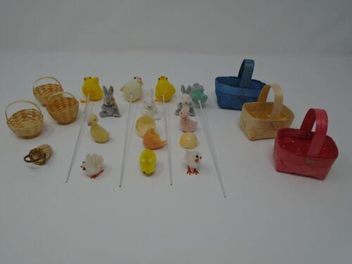 22 Piece Vintage Assortment of Easter Decorations Flocked, Picks, Baskets, Chick