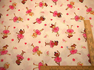 Girls Fabric By The Yard Pretty Ballerinas Pink Tutus on White Premium Cotton