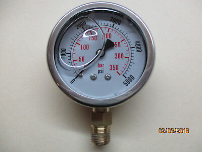 2 12 Inch Liquid Filled 5000 Psi Hydraulic Pressure Gauge