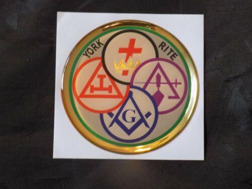 "Masonic 3"" Gel Car Emblem York Rite Bodies Square Compass Fraternity NEW!"