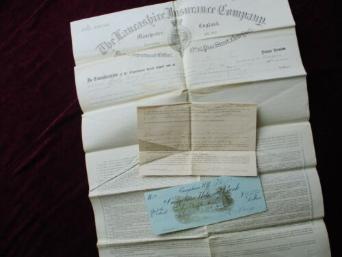 """1890s H.G. Perry """"Lightning Clause"""" signed Check,Insurance HUGE Document!"""
