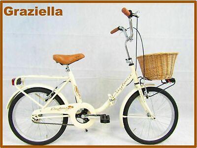 bicicletta da donna bici pieghevole graziella 20 vintage retro' colore panna