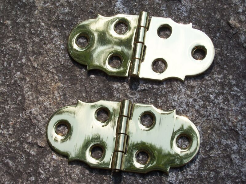 Pair Solid Brass Box Chest Hinges Small Hinge Antique Vintage