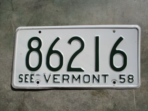 Vermont 1958 license plate  #  86216