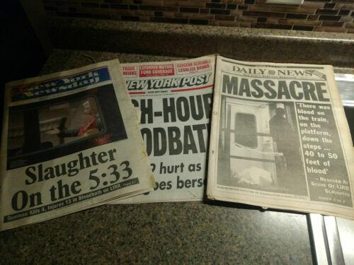 LIRR Long Island Railroad Lot 3 Vintage Newspaper Train Massacre Colin Ferguson