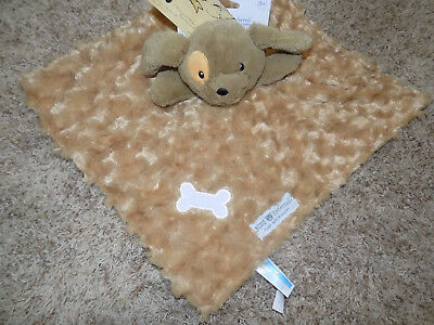 KIDS PREFERRED SECURITY BLANKET PUPPY DOG SWIRL CURLY FAUX FUR GOLDEN BROWN BONE