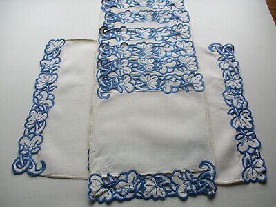 VINTAGE CREAM LINEN PLACEMATS SET HAND MADEIRA CUTWORK BLUE EMBROIDERY