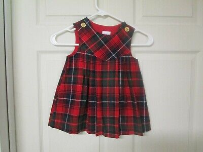Girl's Goodlad Red & Green Plaid Christmas Jumper. Size 4 T. Lined Jumper