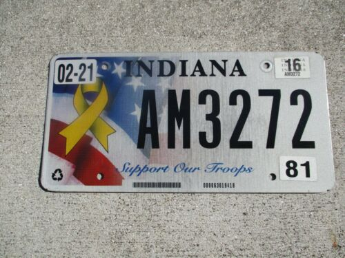 Indiana 2016 Support Our Troops license plate  #  AM 3272
