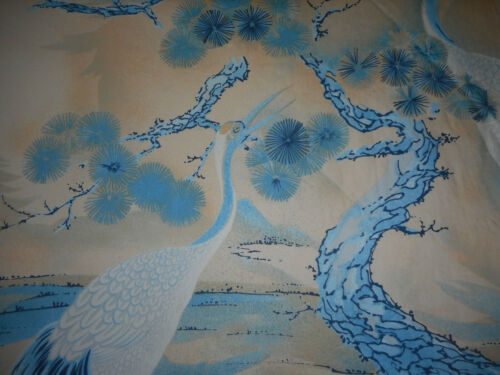 Vintage Retro French Chinoiserie Heron Bird Furnishings Fabric ~ Blue Tan Beige