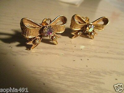 Vintage Clip On Earrings- Gold tone Bows with Rhinestones