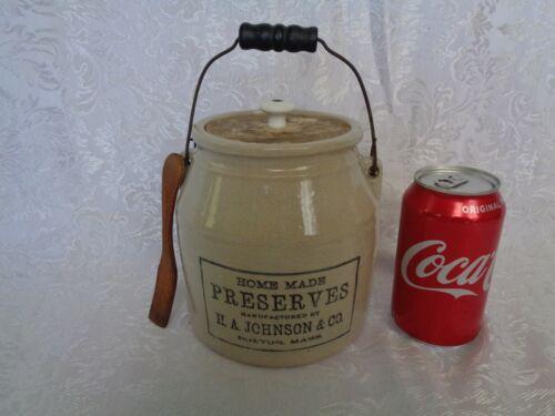 Antique Stoneware Crock Preserve Jar H. A. Johnson & Co Boston Mass