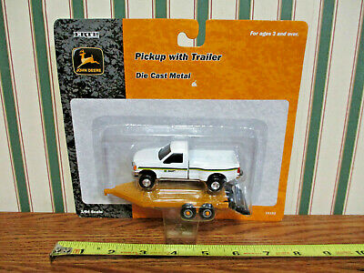 John Deere Ford Dually Pickup With Machine Trailer By Ertl 1/64th Scale >