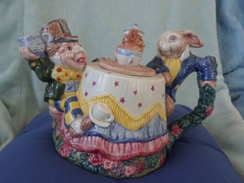 1992 Alice in Wonderland Tea Pot by Fitz & Floyd-Hand Painted- Read On-See Photo
