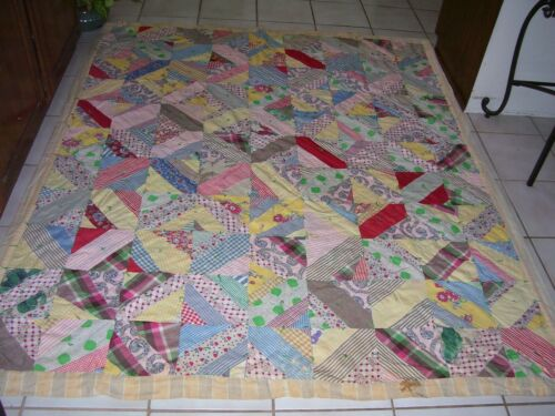 Antique Vintage Crazy Quilt Feed Sack Handmade 66 x78