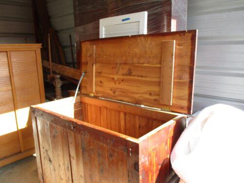 Huge Antique Vintage Handmade Cedar Wood Blanket Chest Trunk