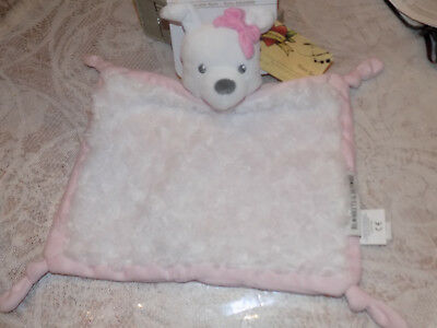 SECURITY BLANKET BEYOND PUPPY DOG PINK FLAT ROSETTE CURLY FAUX FUR WHITE HEAD