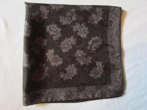 "Vintage Black Paisley Silk Pocket Square 19"" X 19"""
