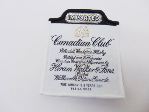 "Vintage EMBROIDERED 3"" PATCH Iron on or Sew Imported CANADIAN CLUB Rye Whiskey"