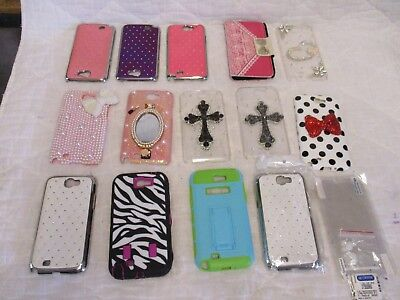 Used, Lot of 14 Samsung Galaxy Note 2 Phone Cases Phone Cover 3 Screen Protectors Nice for sale  Shipping to Canada