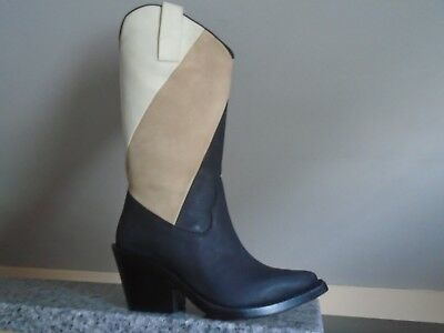NEW ACNE STUDIOS BLACK/BEIGE/WHITE LEATHER COWBOY BOOTS, SIZE 6, MADE IN ITALY