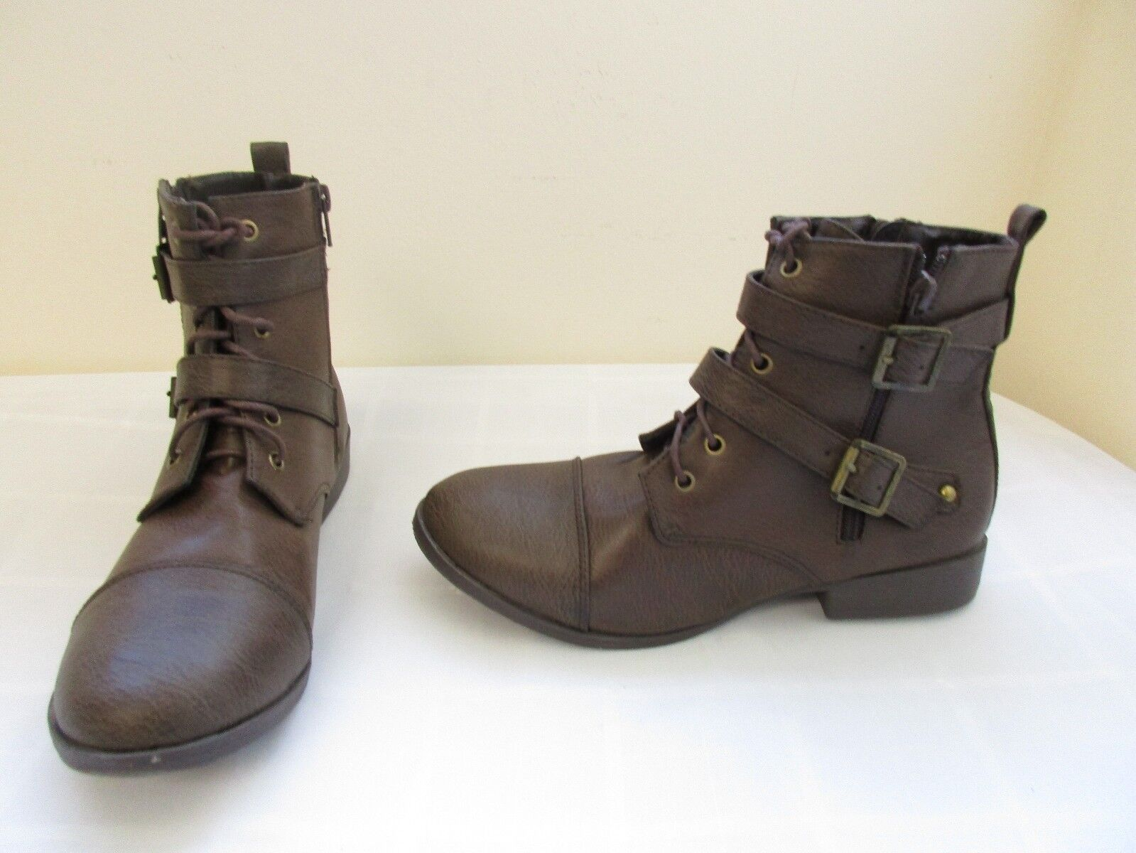 New! Women's Union Bay Desire Combat Ankle Lace Up Zip Boots