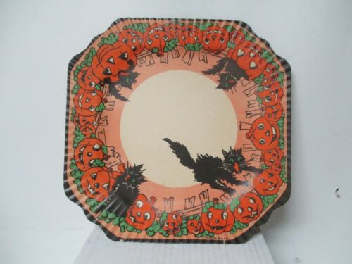 Vintage Halloween Party Paper Plate - Black Cats with JOLs