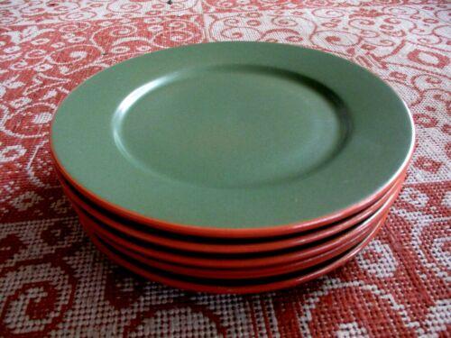 "WSP Casa Verde Terra Cotta Set of 6 Salad Plates 8.5"" Green Handcrafted Portugal"