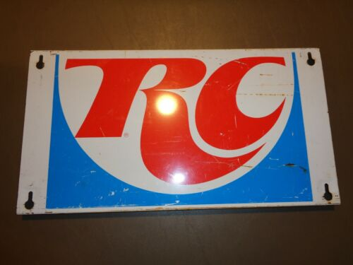 "Original ROYAL CROWN RC COLA Sign 18.5"" X 10"" Flanged Metal SODA Pop Vintage"