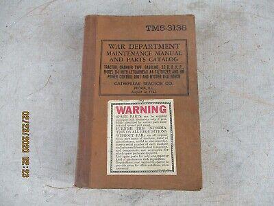 1943 Ww Ii War Department Caterpillar D4 Letourneau Dozer Hyster Winch Manual