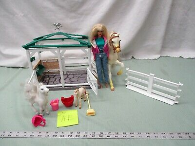 Barbie & Other Miscellaneous Toy Box Lot AE Horse Barn Stable Fences Feed Shed