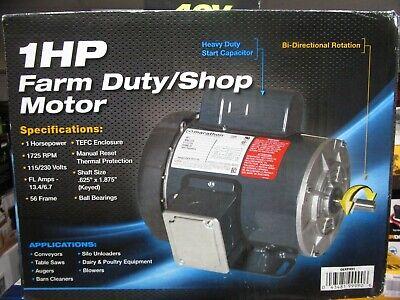 Marathon 1hp Farm Dutyshop Motor W Bi-directional Rotation Gex31031 Brand New