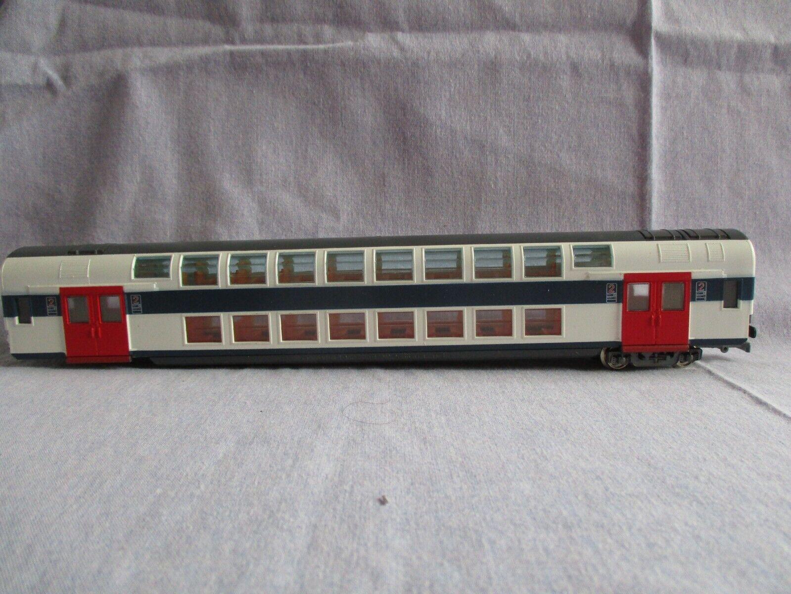 Aq364 jouef ho 1/87 voiture voyageurs type be 2n sncf 2eme classe duplex rf 5092