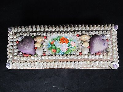 Antique Victorian Seashell Box Sailor Valentine Shells 2 Heart Pincushions