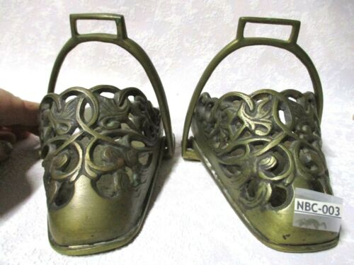 Beautiful and ORNATE Antique Solid Bronze SLIPPER Saddle STIRRUPS for Lady