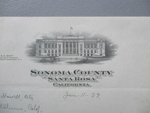 1933 Santa Rosa,Courthouse,California (Righetti,Dawson,Scott)GRAPHIC Letter,card