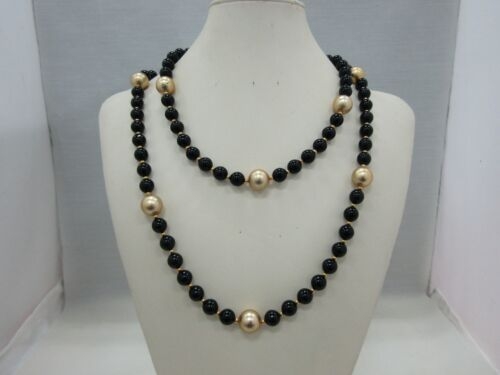 Kenneth Jay Lane Black & Gold Resin Beaded Necklace