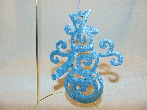 "Blue Glitter Snowman Christmas Tree Ornament Curly 6""  #A"