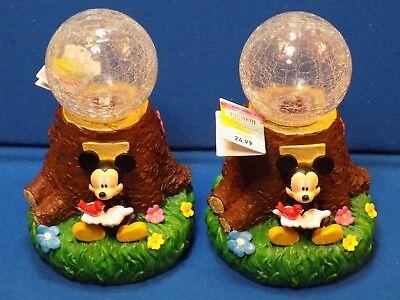 2 NEW Mickey Mouse Walt Disney Garden Solar Globe Pair Lot Set Bird Crackle Lite